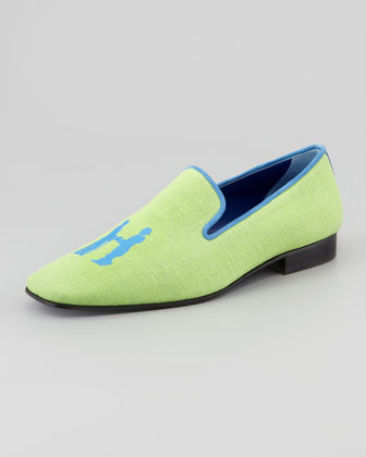 Linen Smoking Loafer, Lime/Blue