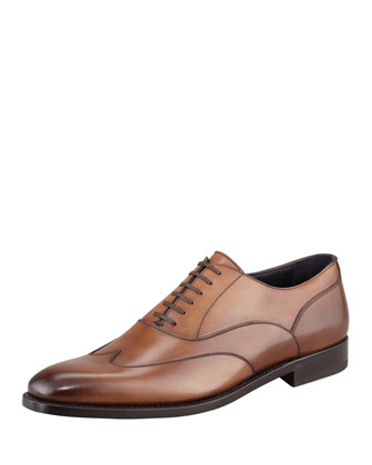 Leather Wing-Tip Oxford, Cognac