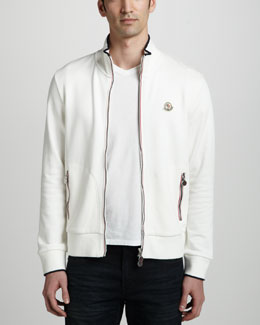 Moncler Flag-Trim Track Jacket, Cream