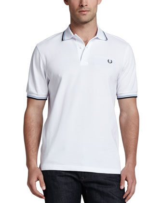 Pique Tipped Polo, White/Light Blue/Navy