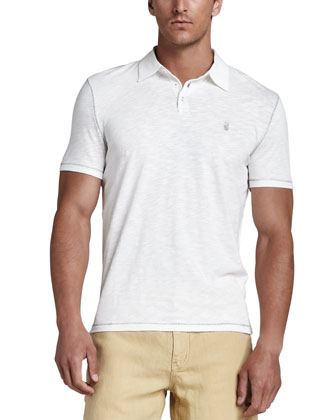 Peace-Sign Slub Polo, White