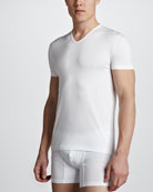 V-Neck Stretch-Cotton Tee, White
