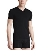 V-Neck Stretch-Cotton Tee, Black