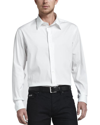 Stretch Poplin Sport Shirt, White
