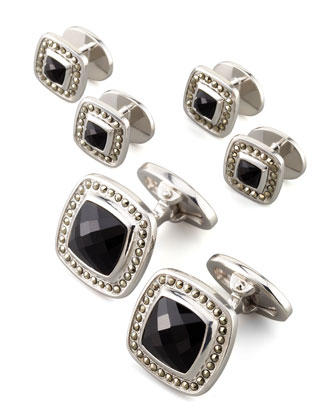 Square Faceted Onyx Cuff Links & Studs Set