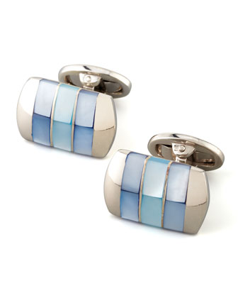 Tonal Mother-of-Pearl Cuff Links, Blue