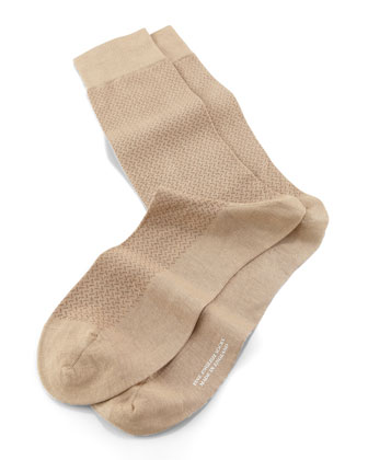 Mid-Calf Cross Hatch Socks, Light Khaki