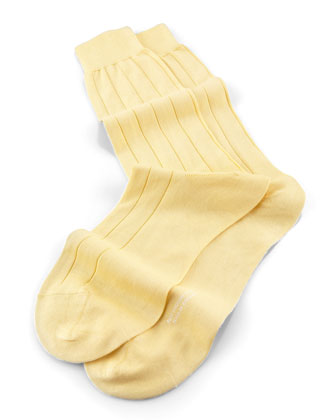 Mid-Calf Solid Sea Island Ribbed Socks, Yellow