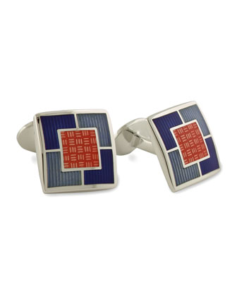 Multi-Square Cuff Links, Orange
