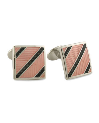 Diagonal Striped Cuff Links, Khaki/Pink