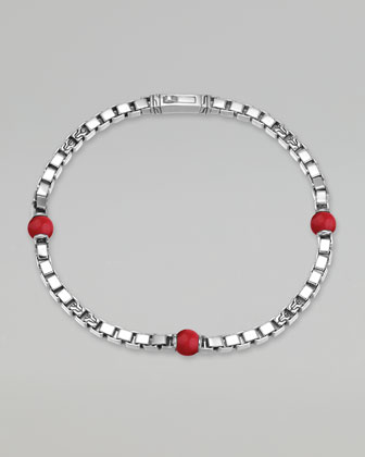 Classic Chain Men's Reconstructed Coral Square Link Bracelet