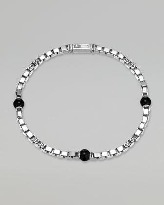Classic Chain Men's Onyx Square Link Bracelet