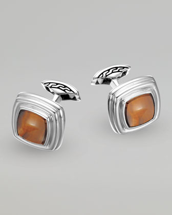 Bedeg Tiger's Eye Square Cuff Links