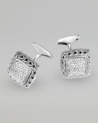 Classic Chain Diamond Pave Cuff Links