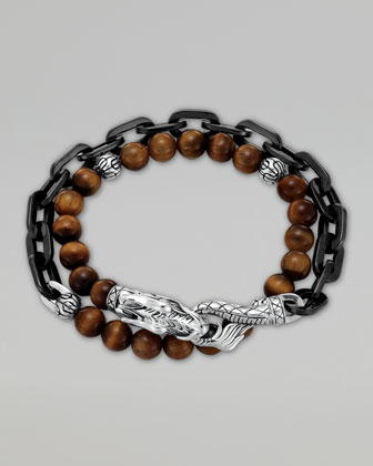 Naga Tiger's Eye Stainless Steel Double-Wrap Link Bracelet