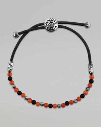 Classic Chain Meteorite Round Beads Cord Bracelet