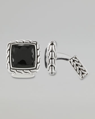 Classic Chain Men's Black Chalcedony Square Cuff Links