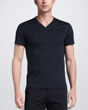 Solid V-Neck Jersey Tee, Navy