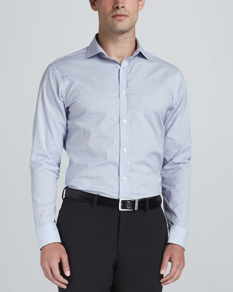 Check Button-Down Shirt, Blue/White
