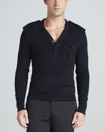 Long-Sleeve V Neck Military Henley