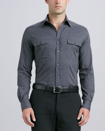 Heathered Flap-Pocket Stretch Shirt