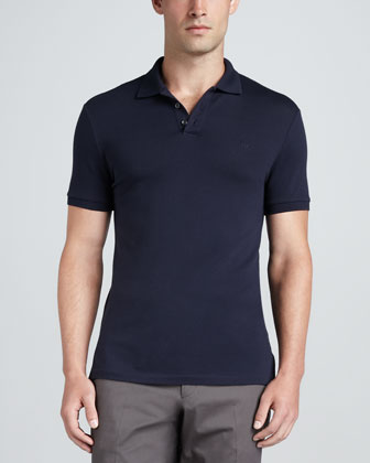 Short-Sleeve Mesh-Knit Polo Shirt