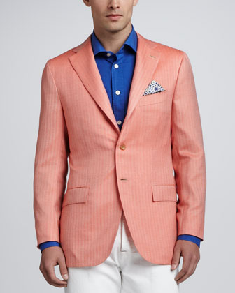 Herringbone Three-Button Blazer, Orange