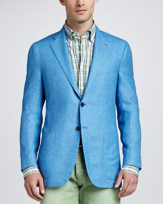 Birdseye Three-Button Blazer, Blue