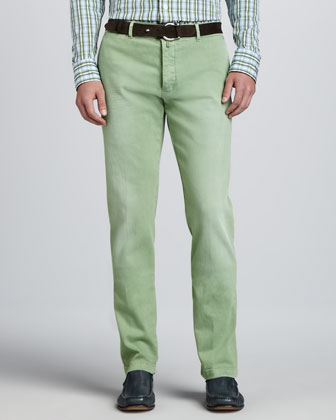 Washed Twill Flat-Front Pants, Light Green