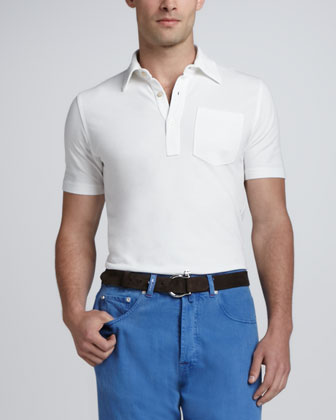 Knit Chest-Pocket Polo, White