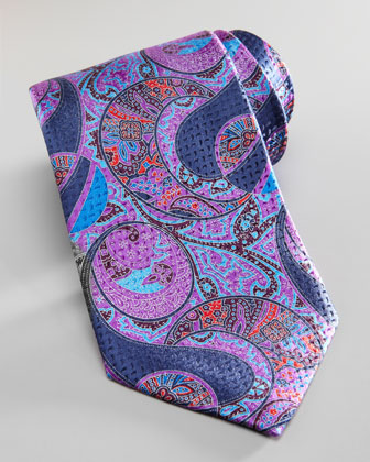 Large-Paisley Silk Tie, Purple