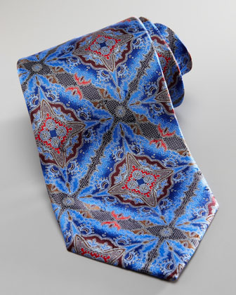 Supernova Paisley Silk Tie, Blue
