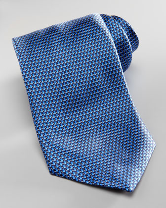 Basketweave Tie, Blue