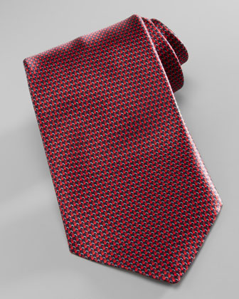 Basketweave Neat Tie, Burgundy