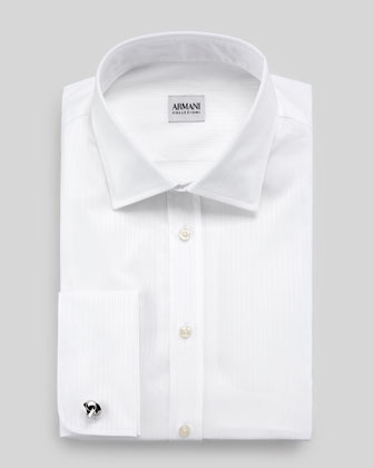 Modern-Fit Tonal Satin-Striped Dress Shirt, White