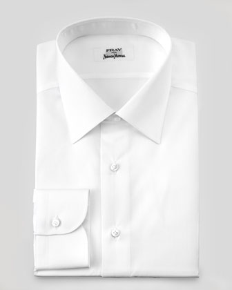 White-on-White Micro-Diamond Dress Shirt