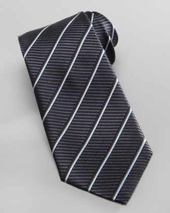 Striped Ottoman Silk Tie, Gray