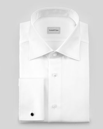 Solid Twill Dress Shirt, White