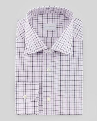 Tattersal Plaid Dress Shirt, White/Purple