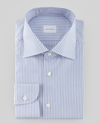 Tonal Striped Dress Shirt, Blue/Charcoal/White