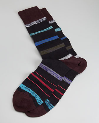 Twisted Stripe Men's Socks, Black