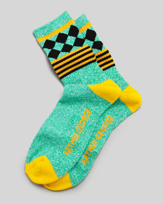 Jester Men's Socks, Green/Yellow