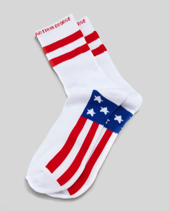 America Men's Socks, White