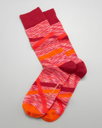 Crisscross Space Dye Men's Socks, Red