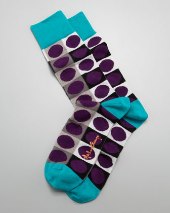 Circle-on-Square Men's Socks, Purple