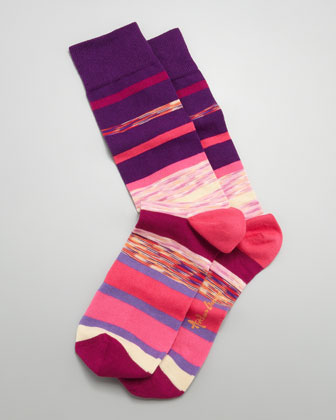 Space Dye Stripes Men's Socks, Purple