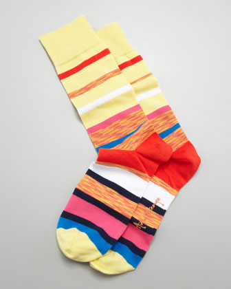 Multi Space Dye Stripes Men's Socks, Light Yellow