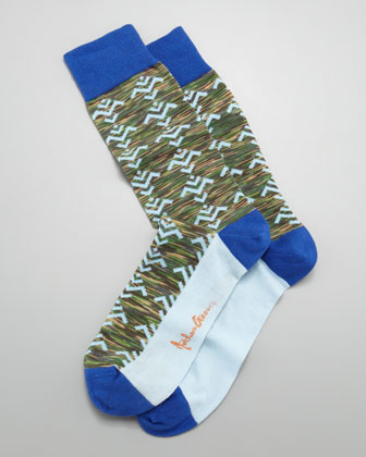 Tribal Camo Men's Socks, Green
