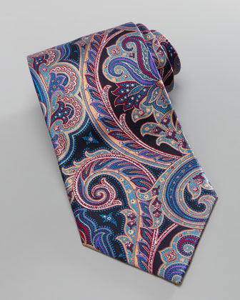 Antique-Paisley Silk Tie, Taupe