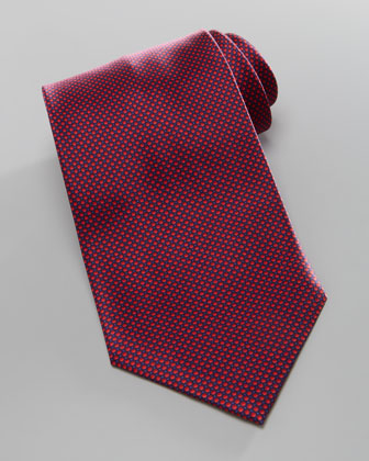 Tonal-Bubble Silk Tie, Red